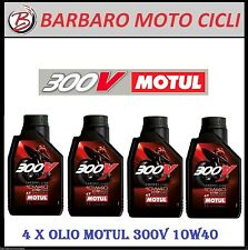 4 LITRI OLIO MOTORE MOTO MOTUL 300V 4T 10W40 100% SINTETICO ESTER FACTORY 300 V