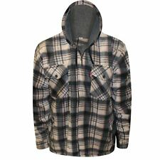 Mens Thick Hooded Lumberjack Padded Shirt Sherpa Fur Lined Flannel Work Jacket
