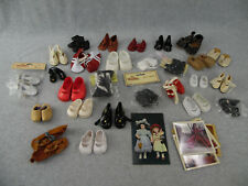 27 pair of vintage assorted Doll Shoes & postcards Photos LOT