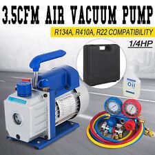 14hp Air Vacuum Pump 35cfm Hvac Refrigeration Ac Manifold Gauge Set R134a Kit