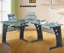 Glass Top Computer Desk Modern Graphite Corner Gaming Home Office Furniture Work