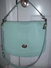 NWT Coach Pebbled Leather Turnlock and Zipper Hobo Handbag Seaglass 36762