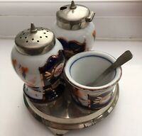 Vintage Ceramic Salt ,Pepper & Mustard.Cruet Set Blue/White/Orange