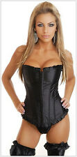 Corset/basque,black satin boned,matching thong,lace up back, definite sex appeal
