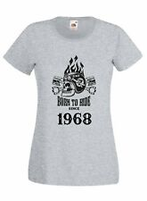 T-shirt Maglietta donna J2238 Motor and Skull Born To Ride Since 1968 Compleanno