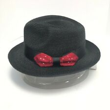 Steven Land Men's Black Fedora Hat and Hat Band Red Rhinestone Bow Sizes S -XL