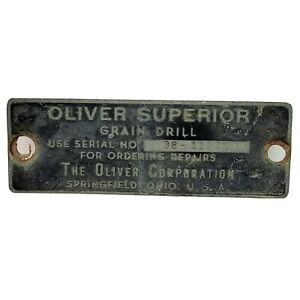 Vtg Oliver Superior Grain Drill Serial Number Tag Equipment ID Plate Springfield