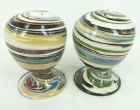 "vintage Desert Sands Pottery Swirl Salt and Pepper Shaker set MCM cool 3"" tall"