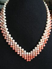 Vintage Four Woven Strand Necklace of Angel Skin Coral