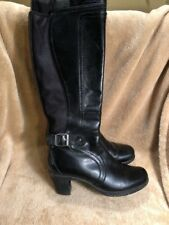 Clarks Black Leather Zip Buckle Knee High Zip Fashion Boots Size 6 M Style 80832