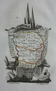 NORFOLK, SUFFOLK, original miniature antique county map, Perrot, 1828