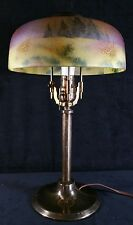 Antique Pittsburgh Brass & Glass PLB Reverse Painted Table Lamp 17.24 x8.5 Inch