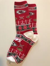 Kansas City Chiefs Ugly Sweater Holidays Adult Socks-1 Pair-Large New Free Ship