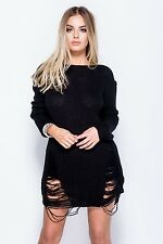 Ladies Black Ripped Long Sleeve Boat Neck Frayed Party Jumper
