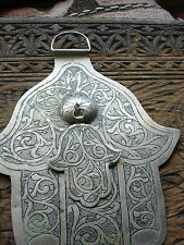 Very large double very tarnished hand  engraved Moroccan Hand