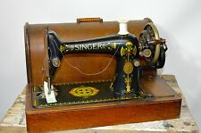 Vintage Antique 1910 Rare Elegant Singer Sewing Machine Case Hand Crank Working