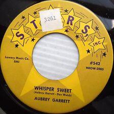 AUBREY GARRETT 1956 Killer Honky Tonk 45 WHISPER SWEET / LONGING country jr154
