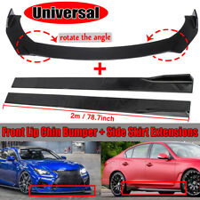"Universal Car Front Bumper Lip Splitters+78.7"" Side Skirts Extension For BMW VW"