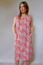 Vintage true 50s unused 2XL cotton plus size shift dress pink grey roses NOS