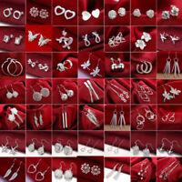 Women 925 Silver Sterling Ear Stud Dangle Hoop Drop Earrings Crystal Jewelry Hot