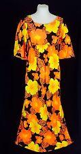 True Vintage 1960's Hawaiian Barkcloth Maxi Dress. Excellent. Medium.
