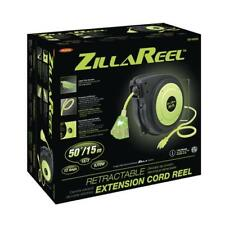 ZillaReel 50 Foot E8140503 Extension Cord Retractable Reel Workshop Flexible