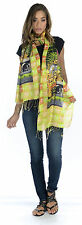 Tolani OM Mantra Yellow, Orange & Green Elephant Print Scarf 100% Silk New!