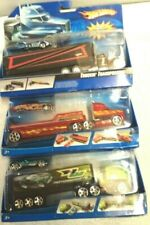 3 HOT WHEELS 1/64 FLATBED TRUCKIN CAR SEMI TRANSPORTERS NEW IN PACKAGE
