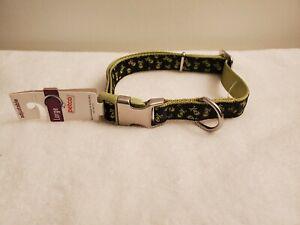 "Petco Dog Collar. Size Large 16""-26"" Adjustable. Black w/ Green Skulls. New"
