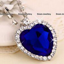 Sapphire Frozen Ocean Heart Necklace  Birthday Christmas Gift for her Mum
