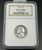 1962 25c Washington Silver Coin PF67 Cameo Proof NGC Quarter Philadelphia Mint