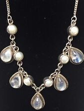 Vintage 925 Sterling Silver Natural Moonstone & Pearl Dangle Necklace
