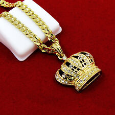 "Gold Plated Iced Out Queens Crown Hip-Hop Pendant 24"" Cuban Chain Necklace D645"