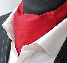 Cravate ascot. 100% soie devant. uk made. rouge doupion soie + matching hanky.