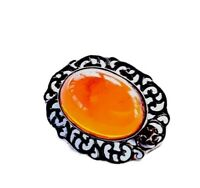 Vintage Sterling Silver Cutwork Setting Amber Cabochon Brooch GIFT BOXED