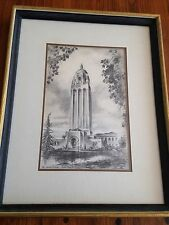 Hoover Tower Stanford University Framed Drawing by Alec Stern