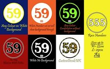 2x Vintage style, Custom Race Number Rally Vinyl Sticker Decal, CHOOSE COLOUR!
