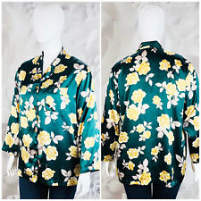 Victoria's Secret Womens Size L Green Floral Print Button Down Night Shirt