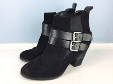 Crown Vintage BORN Black Leather Bootie Ankle Boot 6.5 Buckle Pull on EUC Heel