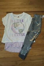 NWT Justice Girls Outfit 2fer Sequin Top//Mesh Leggings Size 10 12 16 18
