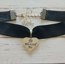 Blessed be pentagram choker necklace pentacle wiccan witch pagan occult goth