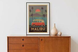 "Retro Kraft Paper Poster ""Volkswagen Campervan Malibu California"" 51 x 36 cm"