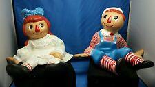 RARE vintage pair Raggedy Ann & Andy ceramic figurines