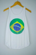 World Cup Football Brazil Flag Print Women's Girl Sleeveless t Shirt Tank Top UK