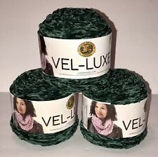 X3 Cakes Lion Brand Yarn 536-173 Vel-Luxe Yarn - Emerald ( Green ) 246yds Ea.