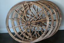 "LOT OF 4 DECORATIVE 36"" WOODEN WAGON WHEELS WOOD WHEEL BURNT FINISH W STEEL RIM"