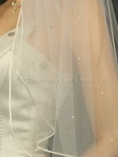 2T Ivory Bridal Fingertip length Rattail Edge with 50 Rhinestones Wedding Veil