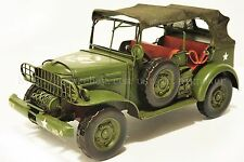Handmade Jeep Military Vehicle 1:12 Tinplate Antique Style Metal Model