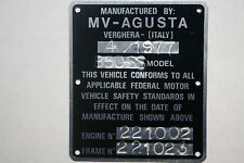 MV AGUSTA 850SS  AMERICA Frame #221023 and Engine #221002 factory  ID Plate