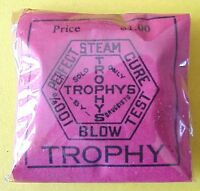 NEW OLD STOCK VINTAGE TROPHY BRAND CONDOMS / RUBBERS  FULL PKG. OF 3 RUBBERS